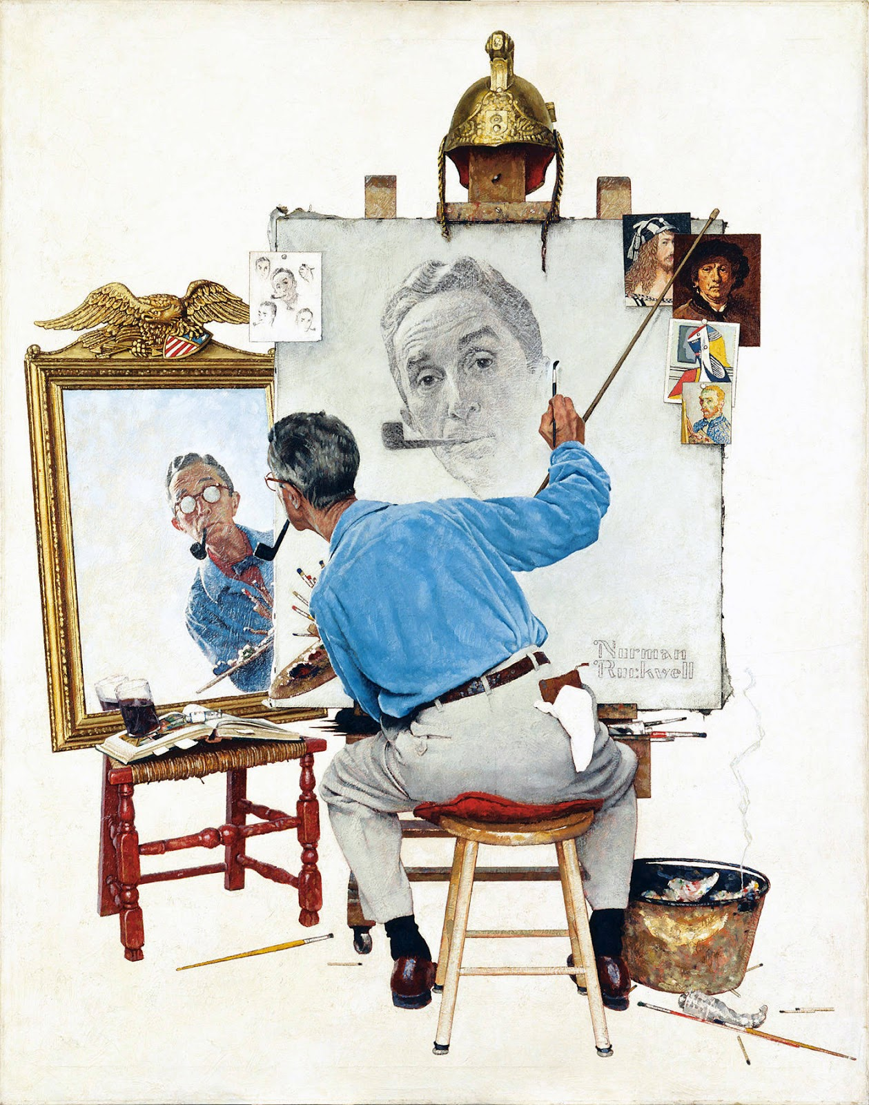 the-norman-rockwell-triple-self-portrait-1960